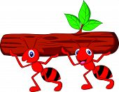 Vector illustration of Team of ants cartoon carries log poster