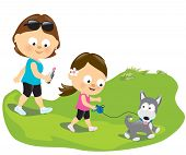 Illustration of a mother and daughter walking with their dog poster