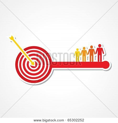 Archery board make key with people stock vector