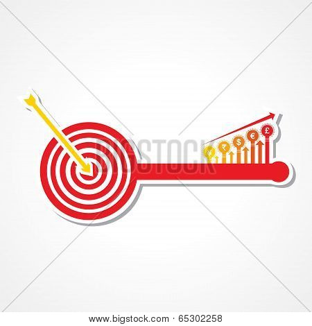 Archery board make key with currency symbol graph stock vector