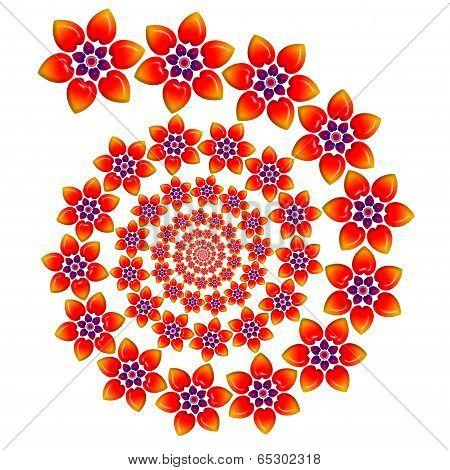 Ever Decreasing Spiral Of Flowers