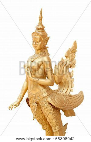Thailand in mythic animal statues of Golden kinnaree isolated on white background. poster