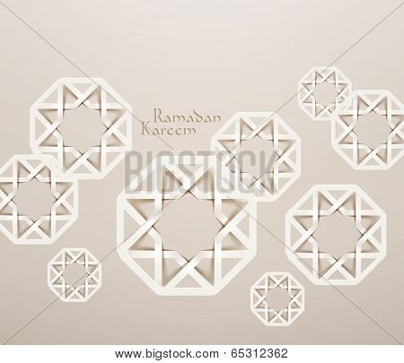 Vector 3D Muslim Paper Graphics. Translation: Ramadan Kareem - May Generosity Bless You During The Holy Month. poster