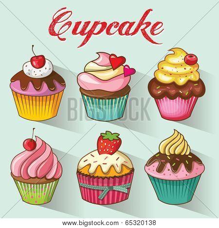 Cupcakes design set. Vector illustration