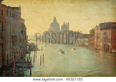The Grand Canal in Venice, Italy.  View from the Accademia bridge. Added paper texture