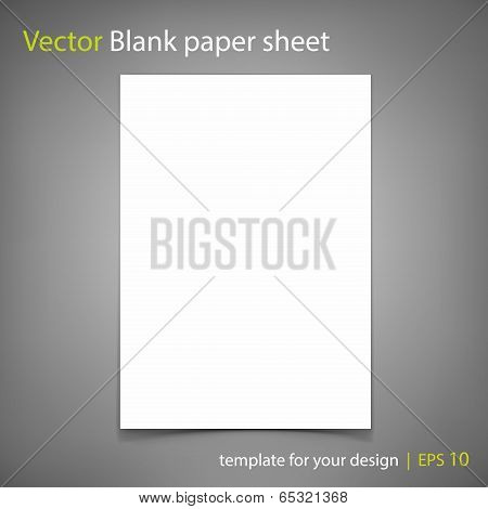 Vector white blank paper A4 sheet on grey background. Template for your design poster