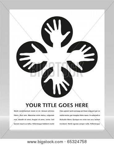 Hand circles design with copy space.