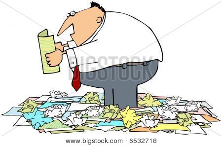 Man Standing In A Pile Of Papers