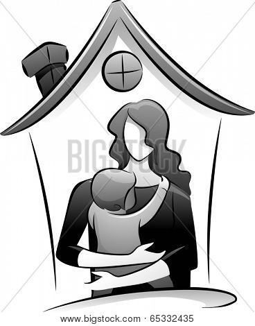 Icon Illustration Featuring the Outlines of a Babysitter and a Child Drawn in Black and White