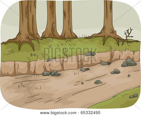 Illustration Featuring a Dry River with the Riverbed Exposed