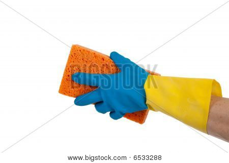 Rubber Gloves And Sponge With Copy Space