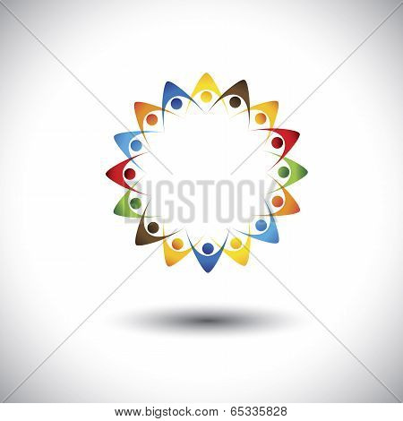 People Forming Star Shape Holding Hands - Concept Vector Graphic