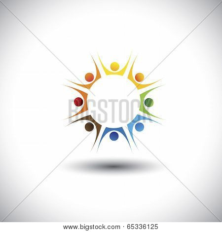 Enthusiastic, Excited Children Or Kids Playing - Concept Vector Graphic