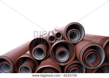Close Up Of A Stack Of Pipes