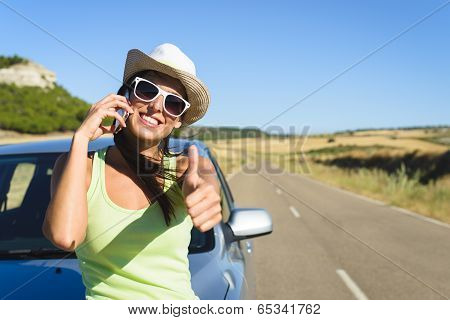 Woman Calling On Cellphone During Summer Car Travel
