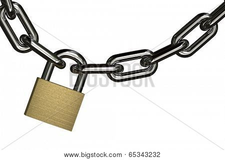 Padlock with chain over pure white background for very easy isolation