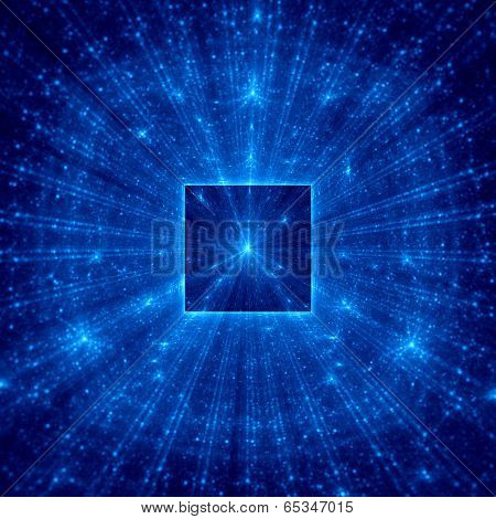 Blue Abstract Square With Blue Rays