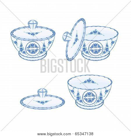 Sugar Bowl Faience  Vector Without Gradients