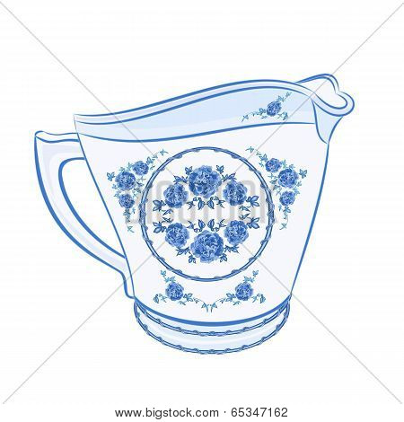 Milk Jug Faience  Vector Without Gradients