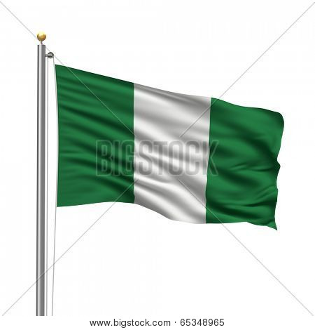 Flag of Nigeria with flag pole waving in the wind over white background