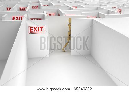 Mannequin following exit signs out of a complicated maze