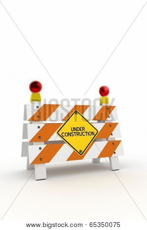 Under construction barrier with blinkers over white background