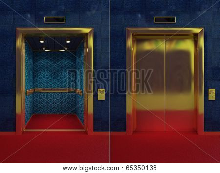 Two images of a luxurious elevator with opened and closed doors