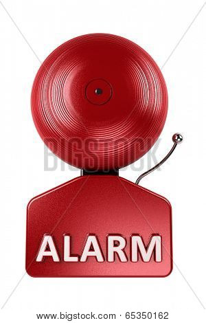 Front view of a red fire alarm bell over white background
