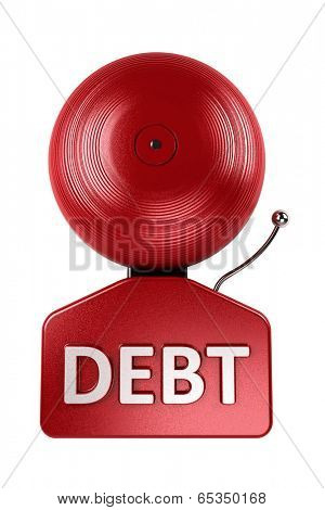 Front view of a red debt alarm bell over white over white background