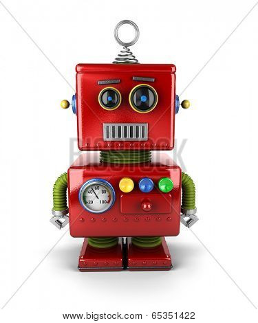 Little vintage toy robot with neutral facial expression over white background