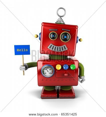 Little happy vintage toy robot holding a hello sign over white background