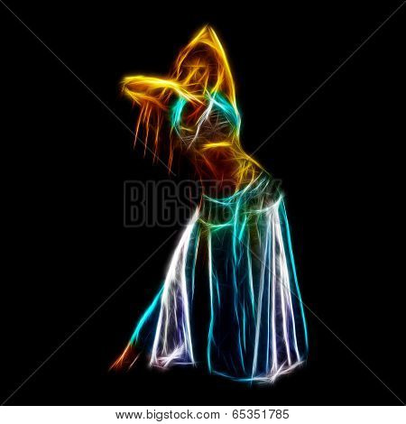 Sensual belly dancer neon fractal artwork isolated on black poster