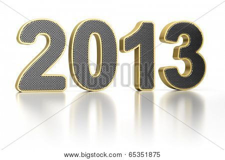 The year 2013 as perforated metal object over white, glossy background