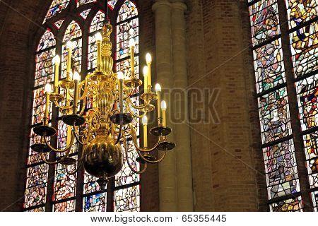 Interior of church Nieuwe Kerk in city Delft