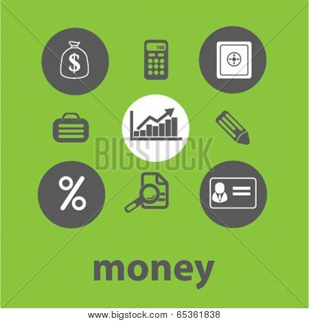 money signs: finance, bank icons set, vector