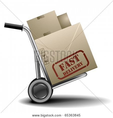 detailed illustration of a handtruck or trolley with cardboxes with fast delivery label on them, eps 10 vector