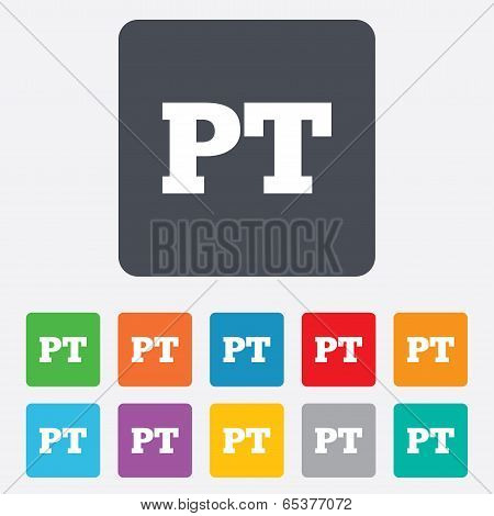 Portuguese language sign icon. PT Portugal translation symbol. Rounded squares 11 buttons. Vector poster