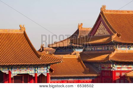 Yellow Roofs Red Tiles Gugong Forbidden City Watch Tower Roof Figures Decorations Emperor's Palace Built in the 1400s in the Ming Dynasty poster