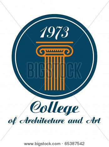 College of Architecture and Art emblem with the text below a circular icon showing a Greek or Roman column with a caoital and the date 1973 poster