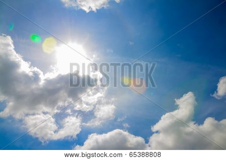 poster of The blue sky with white fluffy clouds and sun