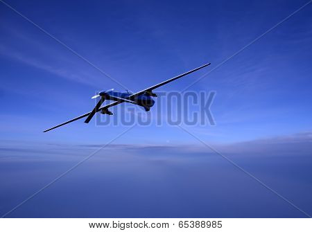 Unmanned Drone In Flight At Dusk