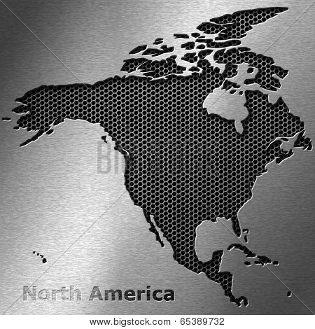 North America map on crack metal background