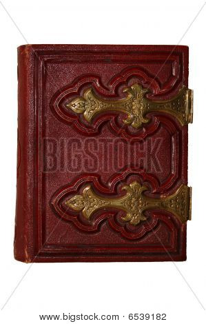 Old Dark Red Antique Book, With Golden Clasp And Pages Viewed From Side