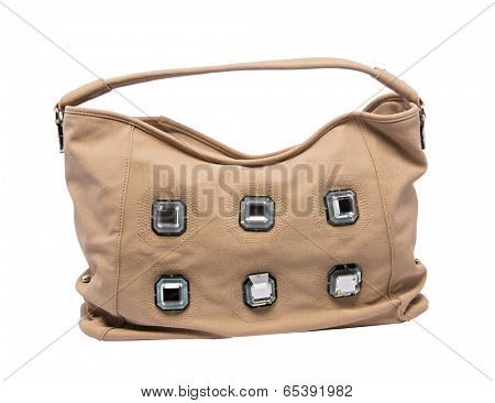 Brown slouch woman bag with handles isolated on white background