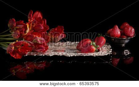 Parrot tulips and strawberries