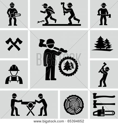 Lumberjack icons set