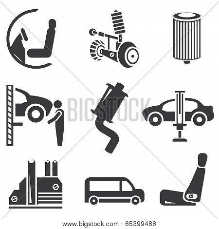 automotive icons, car parts set