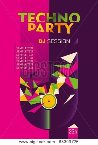 Abstract techno party poster design in color. Vector illustration.