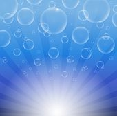 Soap bubbles on a blue background with lights EPS10 vector poster