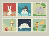A collection of mammal animals. Rabbit with carrot; Penguin mon with penguin baby; Elephant in the grassland; Monkey playing with a ball;  Polar bear trying catch a fish; Giraffe in the grassland. poster